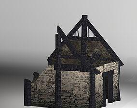 Burned Thatched house 3D model