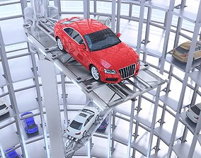 Automated Car Parking with animation 3D model