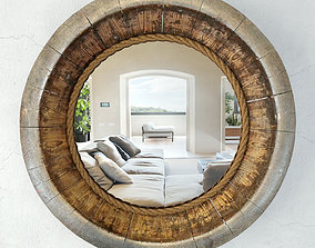 Vintage Wood Barrel Bowl Mirror 3D model