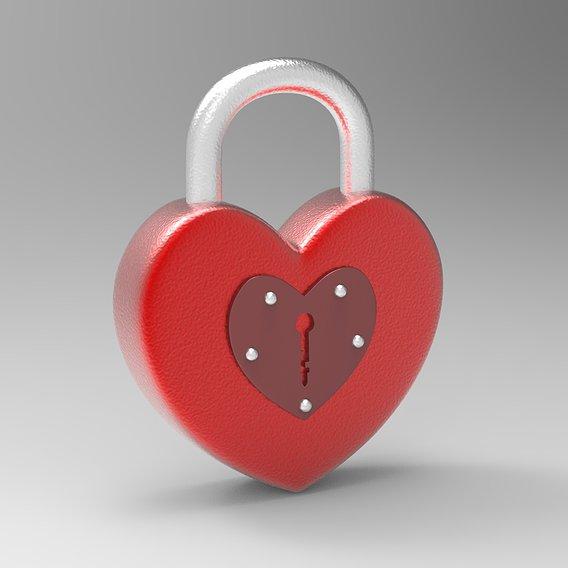 Heart Shape Padlock Model