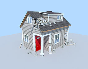 3D asset destroyed house 1