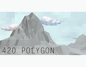 3D asset Lowpoly Landscape Mountain and Hill Game ready