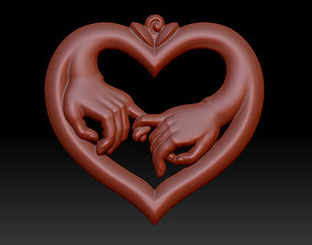 heart with hands 3D print model
