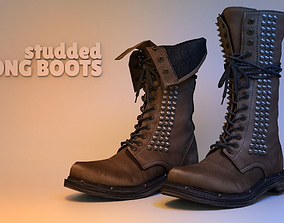 Studded Long Boots 3D model