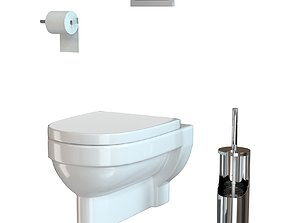 3D Hanging toilet bowl with accessories