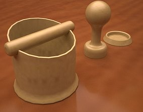 3D print model Coffee Knockbox and tamper with base