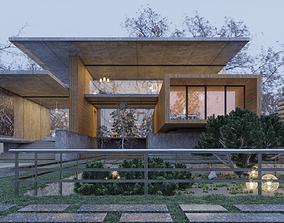Modern Spring Villa Scene 3D