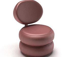Modern Purple Chair 3D model bulged