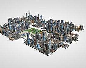 3D model over 50 buliding city lowpoly