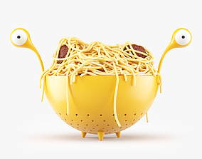 3D model Spaghetti Monster Strainer with Noodles and