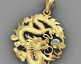 Pendant dragon with diamond 3D printable model