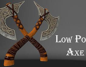 3D model low-poly sword Battle axe