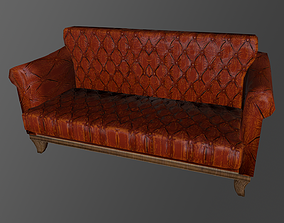 Two-seater sofa Low-poly 3D model With PBR game-ready