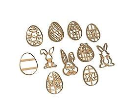 Easter Cookie Cutter Set 11 pieces 3D print model