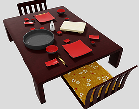 Japanese earhetnware pottery dining set with 3D model