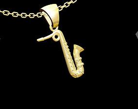 3D print model Saxophone Pendant jewelry Gold