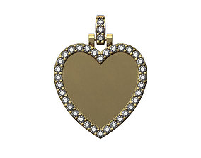 Heart shaped diamond picture pendant 3D printable model