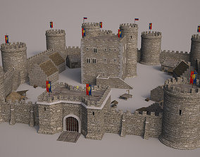 3D tower Meideval Castle set