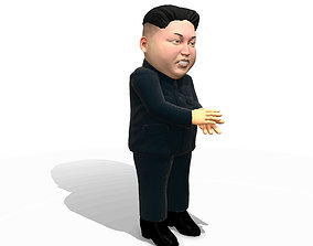 Kim Jong Un caricature low poly animated 3D asset