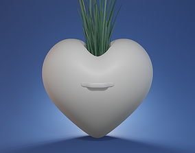 3D print model Succulent plant pot geometric heart B2016