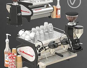 3D La marzocco coffee machine with decor