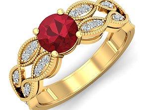gemstone-ring Women cocktail ring 3dm stl render detail