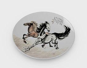 3D model Chinese Porcelain Dinner Plate - Horse Painting