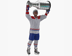 Hockey Player with Stanley Cup Trophy Rigged for 3D model