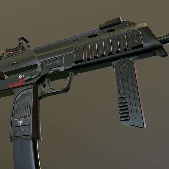 ASSAULT RIFLE HK MP7 WEAPON 3D MODEL