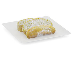 Sliced Bread on White Plate 3D