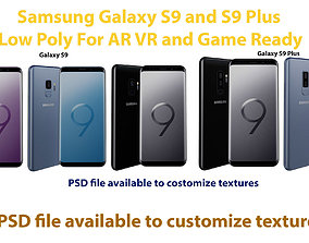 3D asset LowPoly Samsung Galaxy S9 and S9 Plus Models AR 3