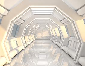3D model realtime Sci Fi Corridor interior sci