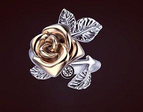 3D printable model jewel rose ring