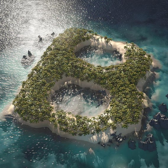 Photo-realistic island