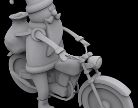 Santa on motorcycle 3D printable model