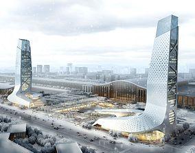 tower shops Architecture 3D