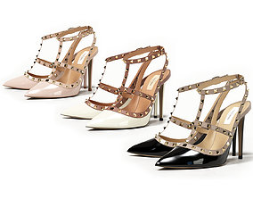 3D model Valentino Patent Rockstud Caged High Heels