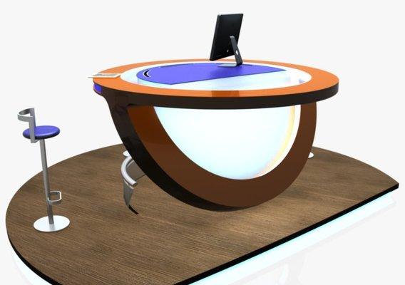Virtual Tv Studio News Podium Desk Chair Imac27 Ipad2