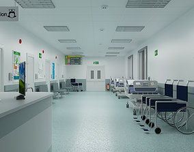 Hospital Ward And Hallway 3D wheelchair