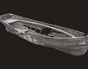 3D asset Ruined wooden boat Yal-6