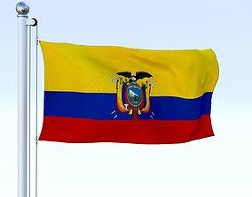3D model Animated Ecuador Flag