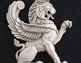 Lion Wall Architecture decorative 3D printable model