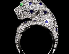 panther ring 3D print model lion jewelry