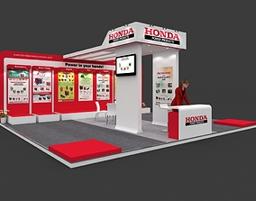 Exhibition stall 3d model 8x7mtr 3sides open Honda 1
