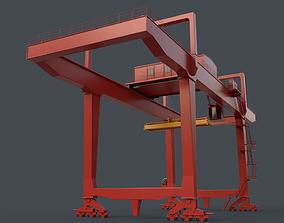 PBR Rail Mounted Gantry Crane RMG V1 - Red 3D model