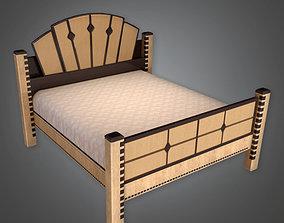 3D asset Queen Bed Art Deco - PBR Game Ready