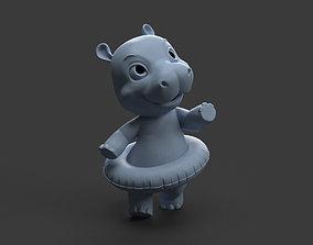 3D printable model baby hippo toy figure