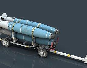 3D model USN MHU-191 Bombs Cart with GBU-38 Laser JDAM 1