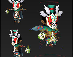 Clash royale style animated Witch doctor fantasy 3D asset