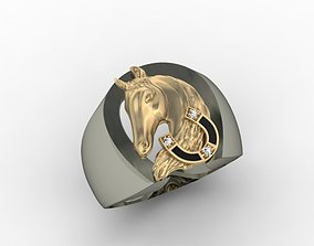 Horse head signet ring 3D printable model